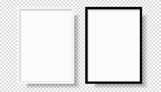 Fotorealistischer schwarzer leerer und weißer bilderrahmen, der von vorne an einer wand hängt. modell isoliert auf transparentem hintergrund. grafikstilvorlage. vektorillustration