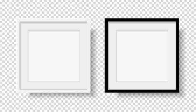 Fotorealistischer schwarzer leerer und weißer bilderrahmen
