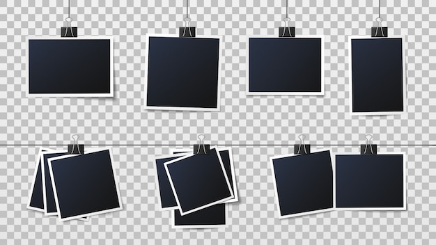Fotos auf clips. weinlesefotorahmen, gerahmte fotografie und rahmen auf stiftschablonenvektorillustration