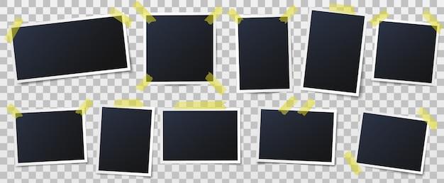 Fotos auf klebebändern, bilderrahmen und vintage fotowandschablonenvektorillustration