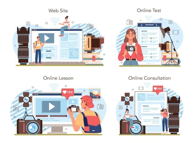 Fotoschulclub oder kurs-online-service oder plattform-set. schüler lernen, fotos, lichteinstellungen und bildbearbeitung zu machen. online-lektion, test, beratung, website. flache vektorillustration