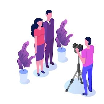 Fotosession isometrisch, studio mit scheinwerfern und mann mit kamera.