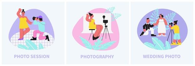 Fotosession zusammensetzung flach illustrationen