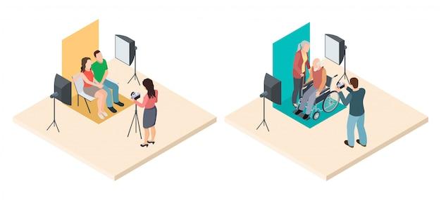 Fotoshooting isometrisch. junge und ältere paare und professionelle fotografen. vektor professionelle fotosession illustration