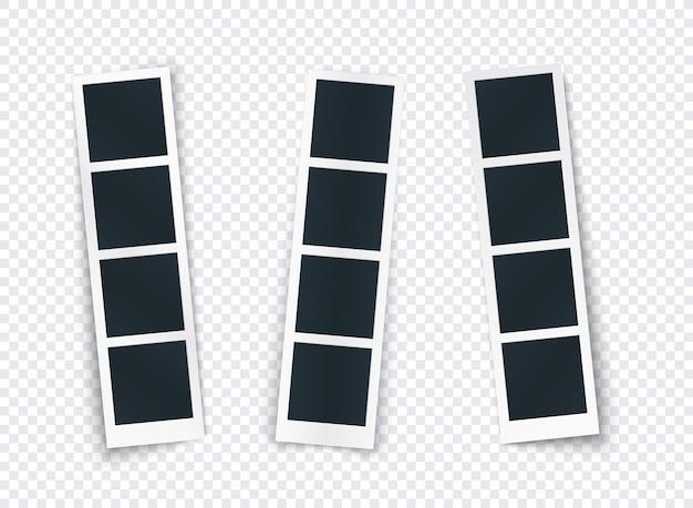 Fotostreifensatz mit dem unterschiedlichen schatten lokalisiert, fotorahmenschablone für bild und bild, vertikales modell für soziales netz, dokument, gedächtnis.