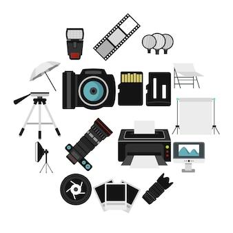 Fotostudio-ausrüstungsikonen eingestellt, flache art