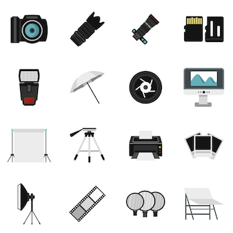 Fotostudio-ausrüstungsikonen eingestellt