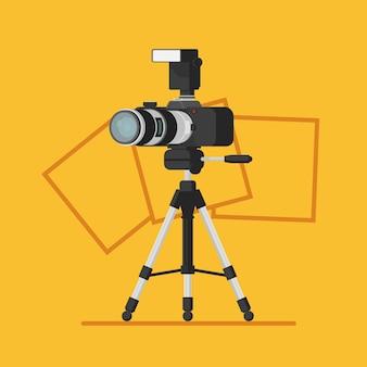 Fotostudio-logo mit fotokamera auf stativ