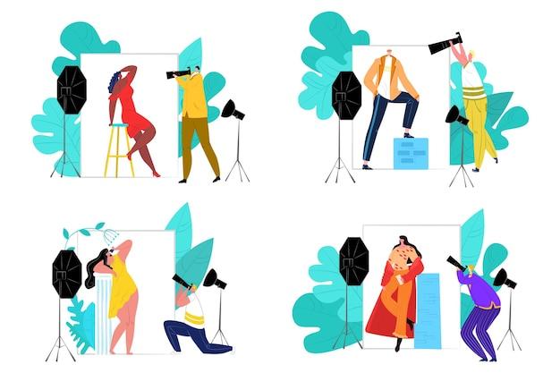 Fotostudio-set, vektor-illustration. professioneller fotograf hält kamera, flache ausrüstung zum fotografieren. mode-modell-mann-frau-charakter-arbeit bei fotoshooting, sammlung.
