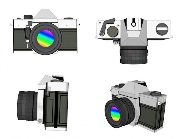 Fotovektor der kamera 3d
