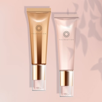 Foundation / concealer / serum metallic / pearlised pink tube im rosa hintergrund