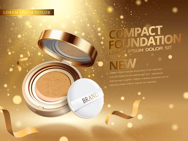 Foundation product ad mit glitzernden stäuben erfüllt die luft