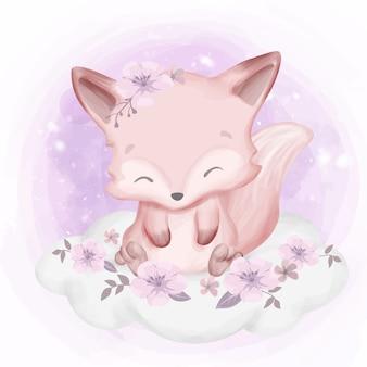 Fox baby sitzt auf wolke