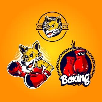Fox boxer maskottchen illustration