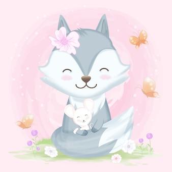 Fox, der mit gezeichnetem tier der maus hand umarmt