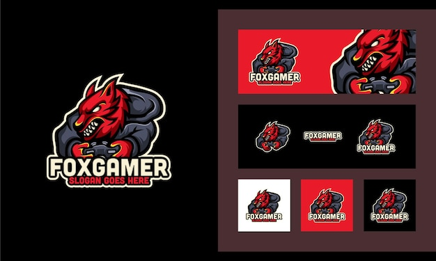 Fox gaming sport set kreative moderne logo-design-vorlage