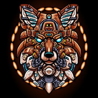 Fox head robot maskottchen esport logo design
