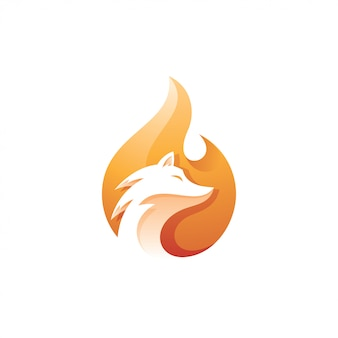 Fox head und fire flame logo