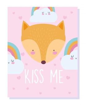Fox kopf regenbogen und wolken cartoon niedlichen tier charakter