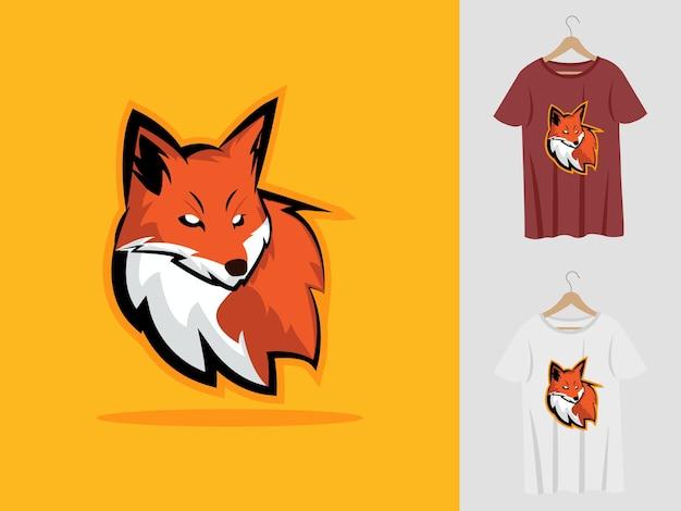 Fox logo maskottchen design mit t-shirt. fuchskopfillustration für sportmannschaft und bedrucktes t-shirt.