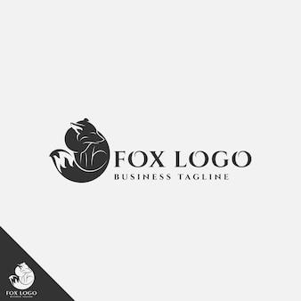 Fox logo mit silhouette stil