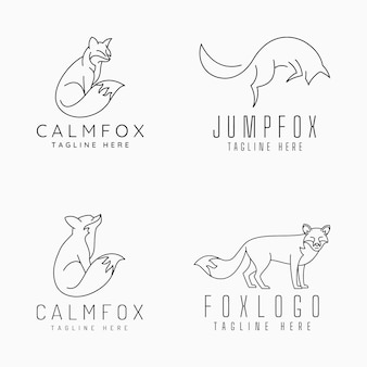 Fox-logos mit linie kunstkonzept