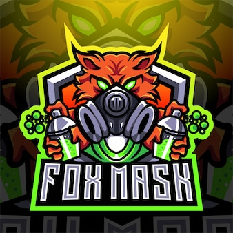 Fox mask esport maskottchen logo design