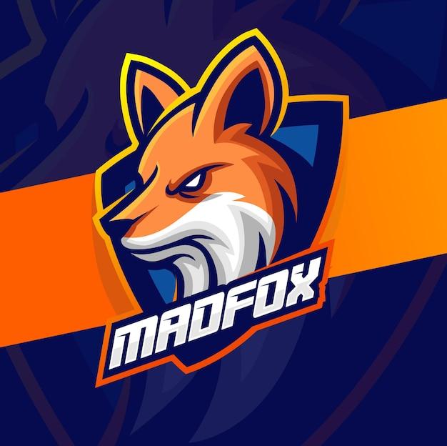 Fox-maskottchen für e-sport-logo-designs für gaming-team