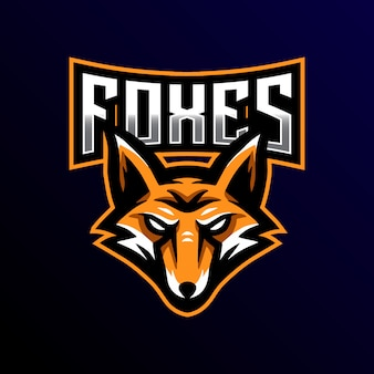 Fox maskottchen logo esport gaming illustration