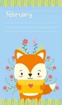 Fox mit netter tierkarikatur des liebesbriefs und flacher art, illustration