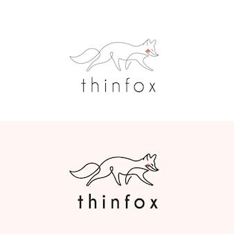 Fox monoline-logo mit dünner linie