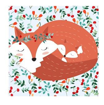 Fox-mutter und baby im hübschen kirschbeerenwald