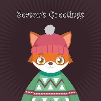 Fox-porträt in hässlicher weihnachtsstrickjacke