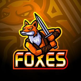 Fox-schwert-esport-logo-maskottchen-design
