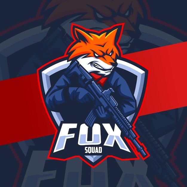 Fox squad mit gun maskottchen esport logo