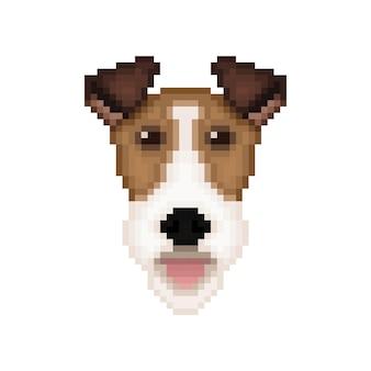 Fox terrier hundekopf im pixel-art-stil.