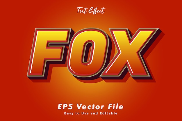 Fox-texteffekt. bearbeitbar und einfach zu bedienen. typografieeffekt