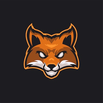 Fox tierkopf cartoon logo vorlage illustration esport logo gaming premium vektor