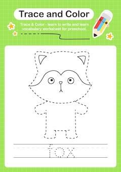 Fox trace und color preschool arbeitsblatt trace