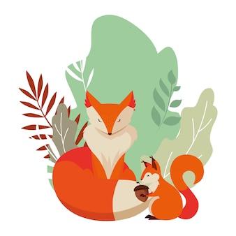 Fox und eichhörnchen glücklich herbstsaison