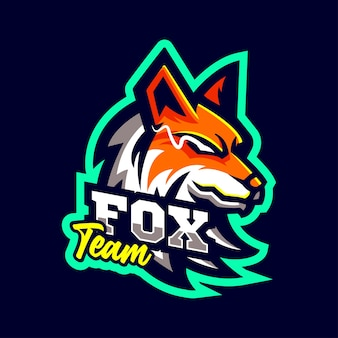 Fox wolf maskottchen logo sportstil