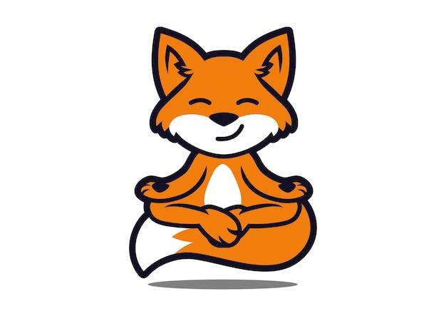 Fox yoga maskottchen design