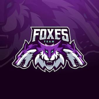 Foxes mascot logo design illustration für das esports team