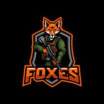Foxes maskottchen esport gaming logo