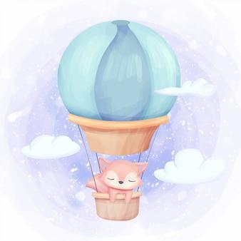 Foxy fliege zum himmel mit luftballon