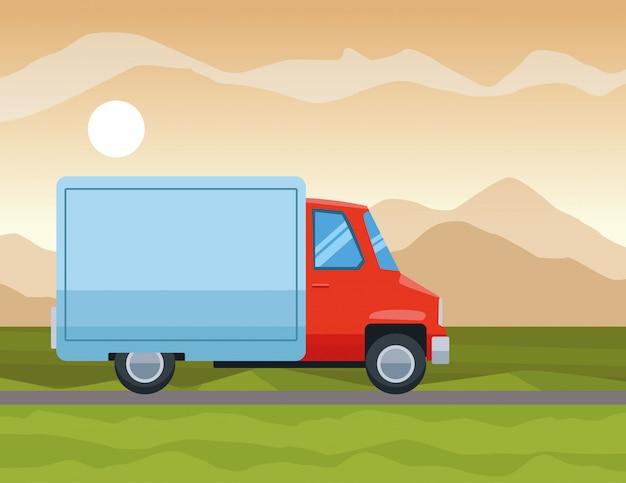 Fracht-lkw, der auf der autobahn karikatur reitet