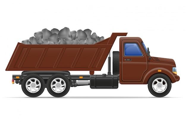 Fracht-lkw-lieferung und transport der baumaterialkonzept-vektorillustration
