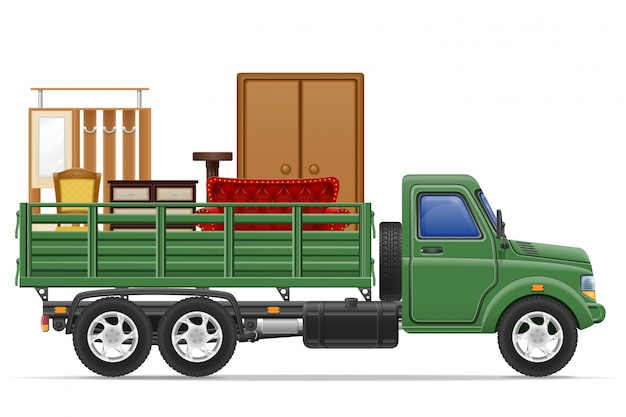 Fracht-lkw-lieferung und transport der möbelkonzept-vektorillustration