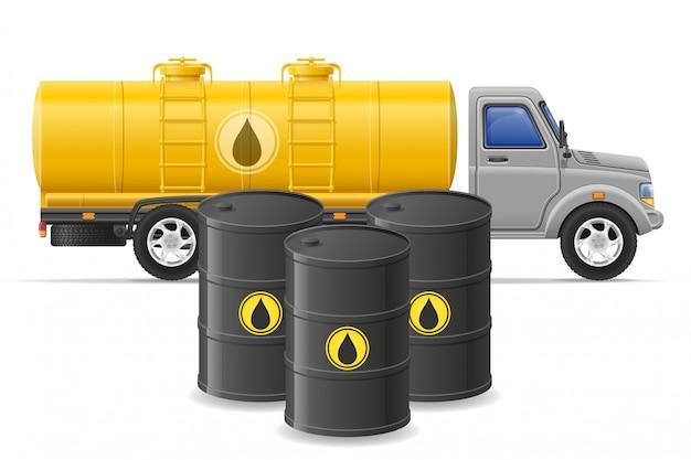 Fracht-lkw-lieferung und transport des brennstoffs für transportkonzept vector illustration