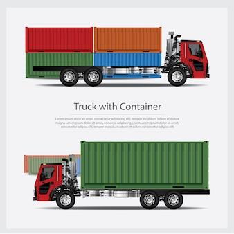 Fracht-lkw-transport mit behälter lokalisierter illustration
